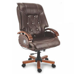 Fort Rotatable Adjustable Seat Height Brown Leather CEO Chair