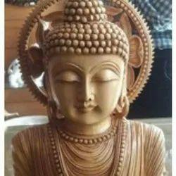 Antique Wooden Buddha Head Statue