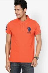 U S Polo Assn Orange Solid Regular Fit Polo T-Shirt