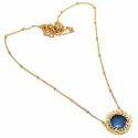 Beautiful Round Curve Stylish Moonstone Gemstone Pendant Micron Gold Plated Jewelry
