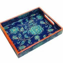 Pink Knots Handicraft Tray, Shape: Rectangle, Size: 10x8x1.5