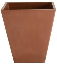 Square Green Pots Plant Container (Ceramic, External Height - 26.5 Cm)
