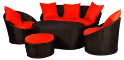 Universal Furniture Black Patio Sofa Set With Table & Cushions