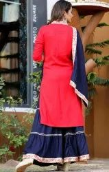 Red Ladies Long Kurti With Skirt