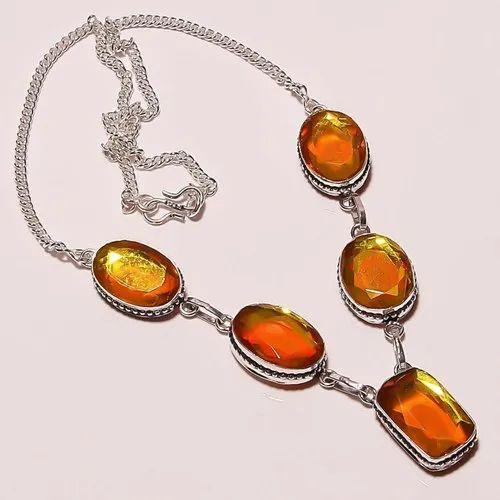 Rayna Jewelry Natural Aqua Mystic Topaz Silver Overlay Handmade Necklace