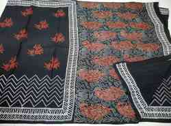 Black And White ( Chuna Pathri Print) Cotton Saree