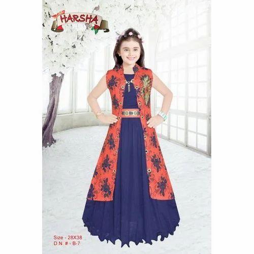 7a0ffda4d8dc Cotton And Chiffon Wedding Wear Kids Designer Jacket Style Gown ...