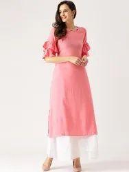 Women Village Formal Wear Bell Sleeve Rayon Kurta, Size: S-XL