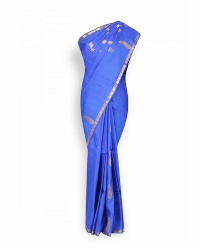 680b5a3c054f6d Wedding Wear Royal Blue With Gold Border Pure Kanchipuram Designer Saree,  With Blouse Piece
