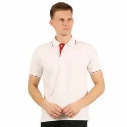 Mens Polo Neck White with Red T-Shirt