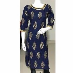 Blue Gold Printed Cotton Kurti