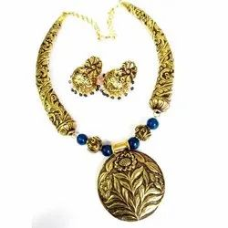 Gold Plating Traditional Antique Silver Necklace Set