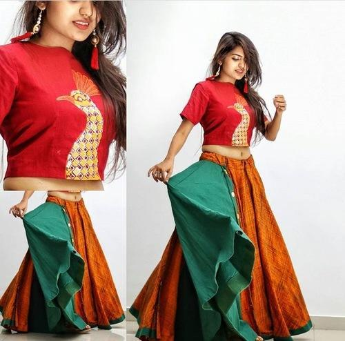 552f454f22 Traditional Long Skirt And Crop Top at Rs 3800 /piece | Ladies Dress ...