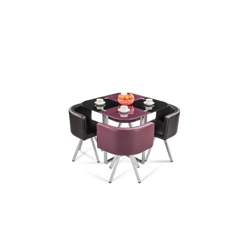 92b516a8a Durian Compact Neon 4 Seater Glass Stowaway Dining Set