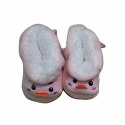 Pink Casual Wear Kids Woolen Shoes
