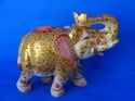 White Marble Golden Work Decorative Elephant Statue