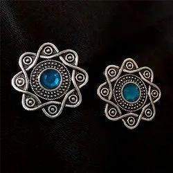 Oxidized Blue Gemstone Earrings