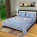 90x108 Queen Size Mandala Bedding Set Indian Hand Screen Printed Bedsheet With Pillow Cover