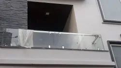 Silver SS Glass Balcony Railing, For Home