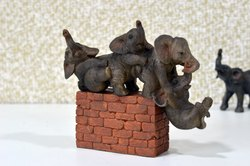 Star Gardens Happy Elephant with Brick Base Home, Garden Decor, Show And Gift Item