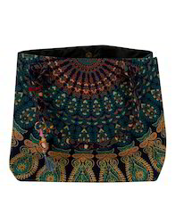 Mandala Peacock Printed Cotton Travel Hand Bag