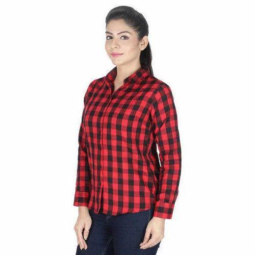 dd7b200a Ladies Cotton Full Sleeve Check Shirt, Size: XS -XXL, Rs 400 /piece ...