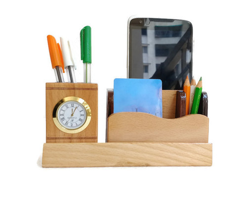 Desktop Wooden Card And Pen Holder Stand