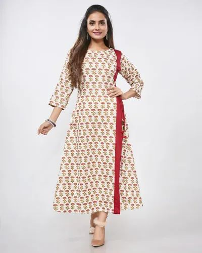 3/4th Sleeve Cotton Flex Print A Line Floral Kurti