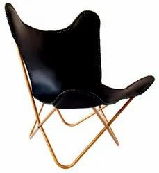 High Quality Pure Leather Butterfly Chair With Knock Down Lock System Stand