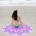 Purple Round Beach Throw Tapestry