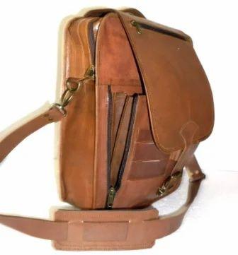 HV Brown Zipper Leather Office Satchel Bag