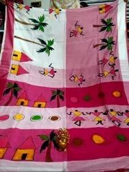 Party Wear Printed Handpainting On Cotton Saree, With blouse piece