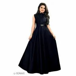 Rayon Sleeves Less Ladies Party Wear Gown Dress