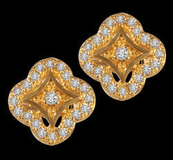 Gold Plated Cubic Zirconia Brass Stud Earring