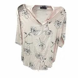 Collar Neck Printed Ladies Designer Rayon Shirt, Size: Available In L,XL and XXL