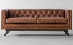 Three Seater Canvas Sofa, Leather Furniture