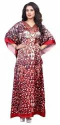 Digital Printed Satin Silk Women Kaftan