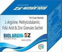 L-Arginine , Methylcobalamin, Folic Acid, Zinc Sulphate Sachets, Packaging Type: Box