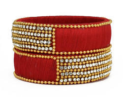 Stylish Red Silk Thread Bangle