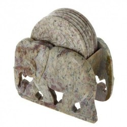 Soapstone Coaster Set in Elephant Design
