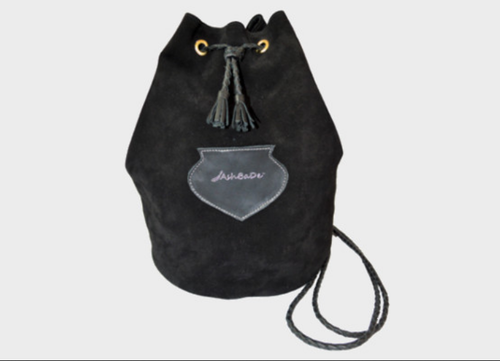 Cotton Fabric Female Buckback Bucket Bag Black Suede