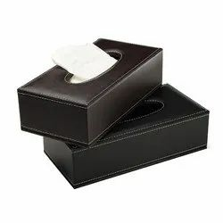 Black Plain Leather Tissue box