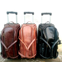 Leather Trolley Duffel Bag