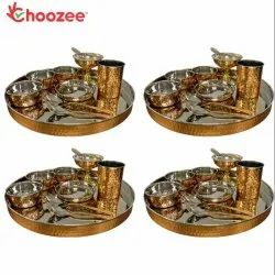 Choozee - Copper Thali Set of 4 (40 Pcs) Thali, Bowl, Spoon, Glass and Ice-Cream Cup