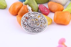 Silver Oxidized Party Wear Designer Round Pendant, Size: Height-40.04mm,Width-30.3mm