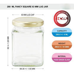 280 ml Sqaure Glass Jar