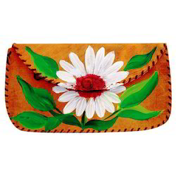 Flower Print Hand Painted Leather Clutches