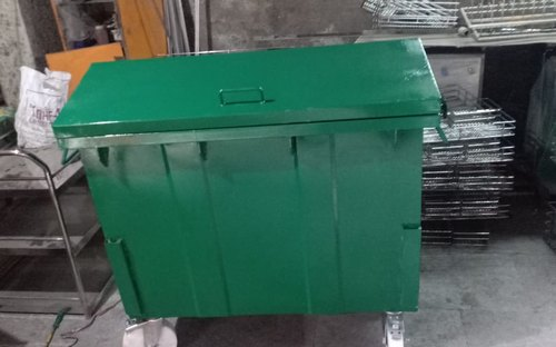 1100 Liter Mild Steel Green Garbage Bin for Industrial