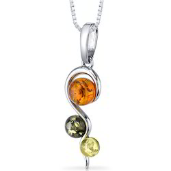 Multi Colored Genuine Gemstone 925 Sterling Silver Pendant