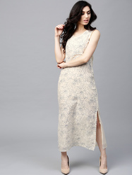 Cream & Blue Printed Sleeveless Maxi Dress